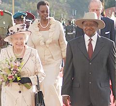 Her Majesty The Queen on Arrival in Uganda